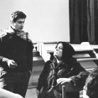"""Franco Coggiola con Luisa Ronchini durante le prove dello spettacolo """"Domani Alessandria ieri, oggi noi"""" al Teatro di via Vescovado di Alessandria nel 1968. Foto © Gianmaria Vergano"""