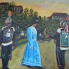"""""""Piccola scena del Maggio costabonese"""", 1966 – Olio su tela di Angelo Corsini – Collezione Riccardo Schwamenthal"""