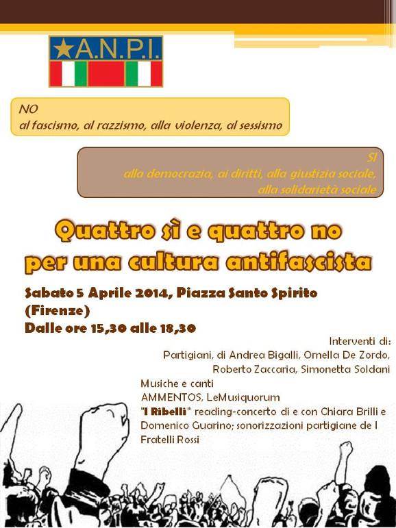 Quattro si e quattro no per una cultura antifascista - Volantino