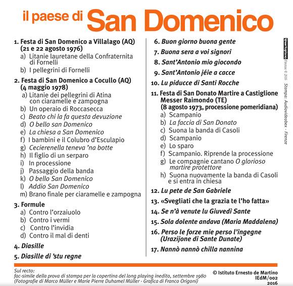 Il paese di San Domenico - Copertina - Retro