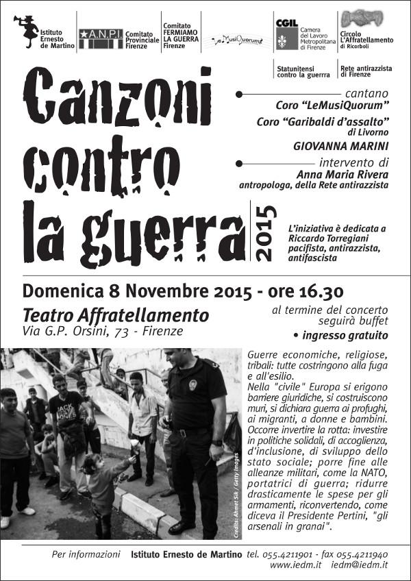 Canzoni contro la guerra 2015 - Volantino