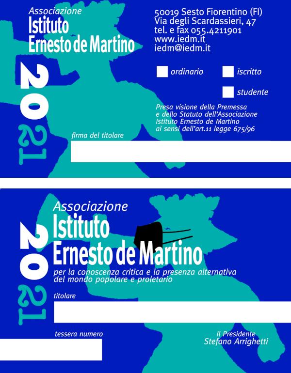 Tessera dell'Istituto Ernesto de Martino per il 2021