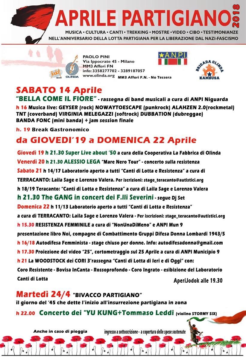 Locandina aprile partigiano 2018