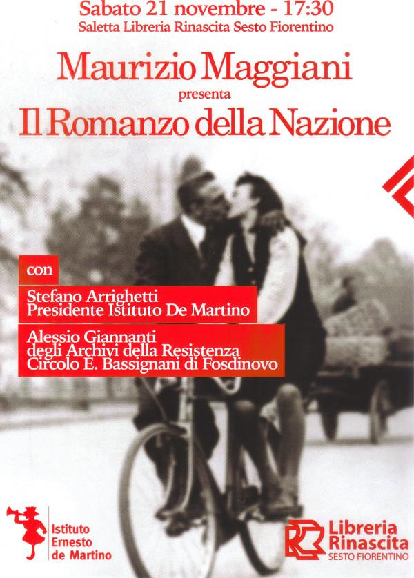 """Volantino presentazione """"Romanzo della Nazione"""""""