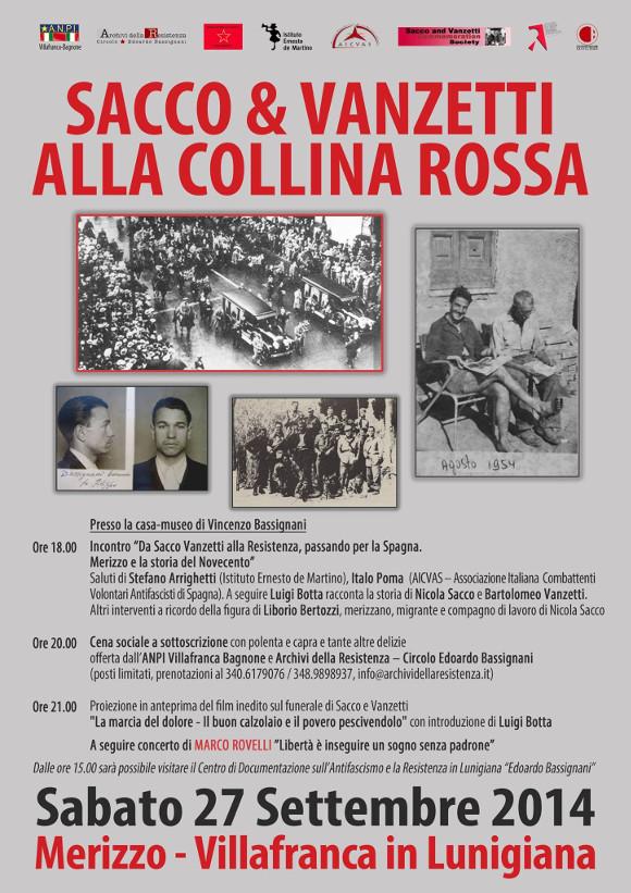 Volantino Sacco & Vanzetti alla Collina Rossa